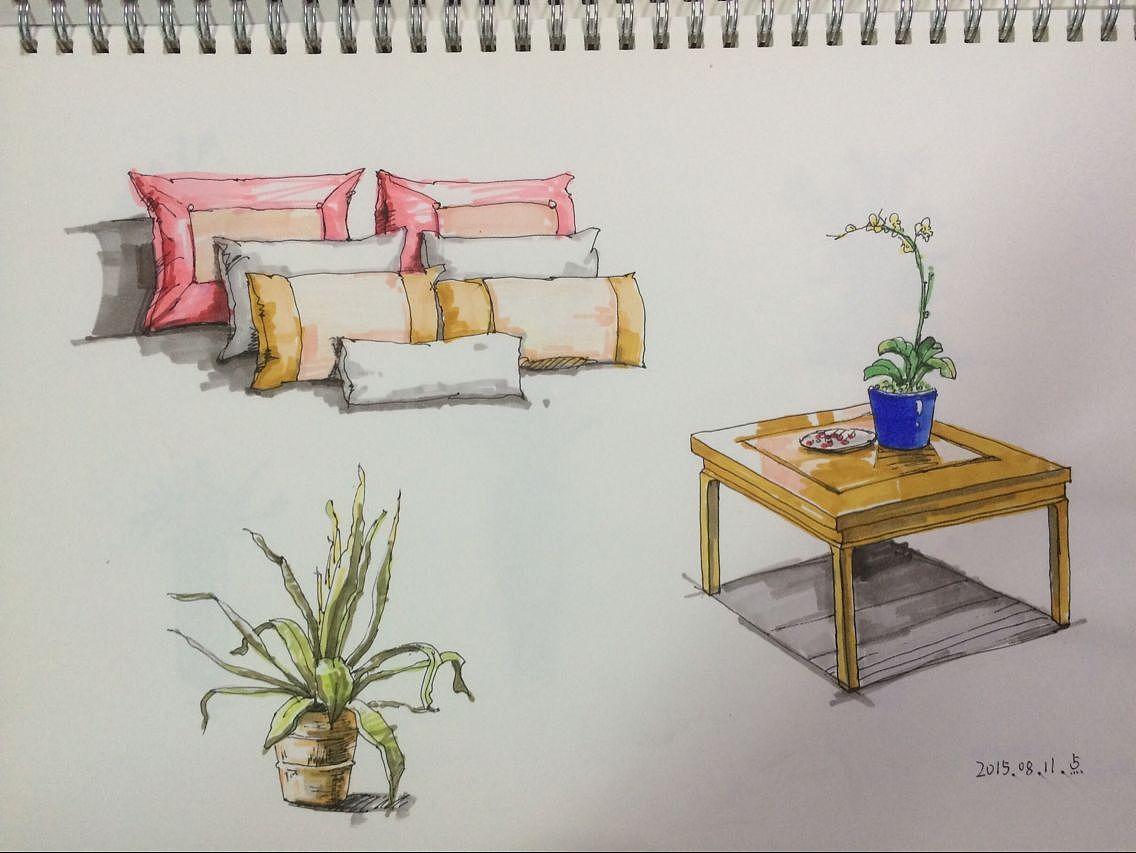 室内手绘图练习-临摹|空间|室内设计|唔唔唔唔 - 原创