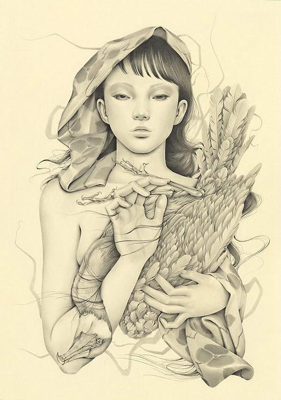 孩与小鸟的精美铅笔画图片