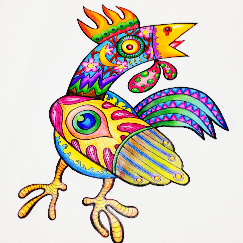 手绘插画涂鸦——色彩公鸡