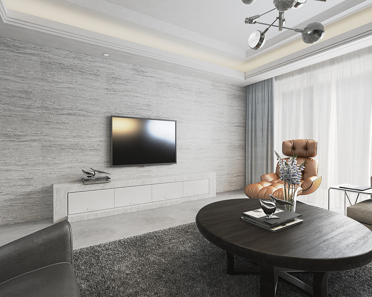 电视背景墙面积_现代黑白灰 / 住宅空间设计 空间 室内设计 六品设计 - 原创作品 ...