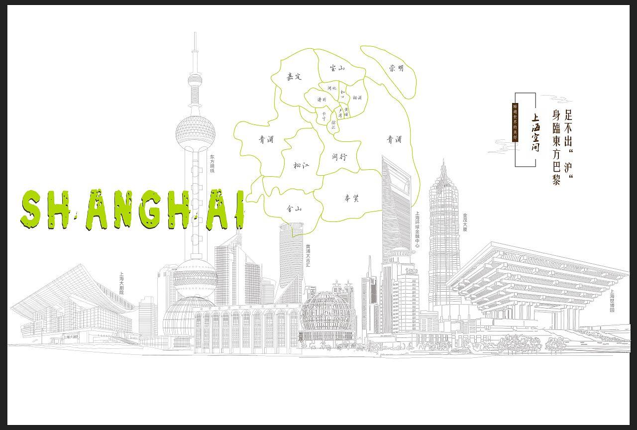 北京手绘城市背景图