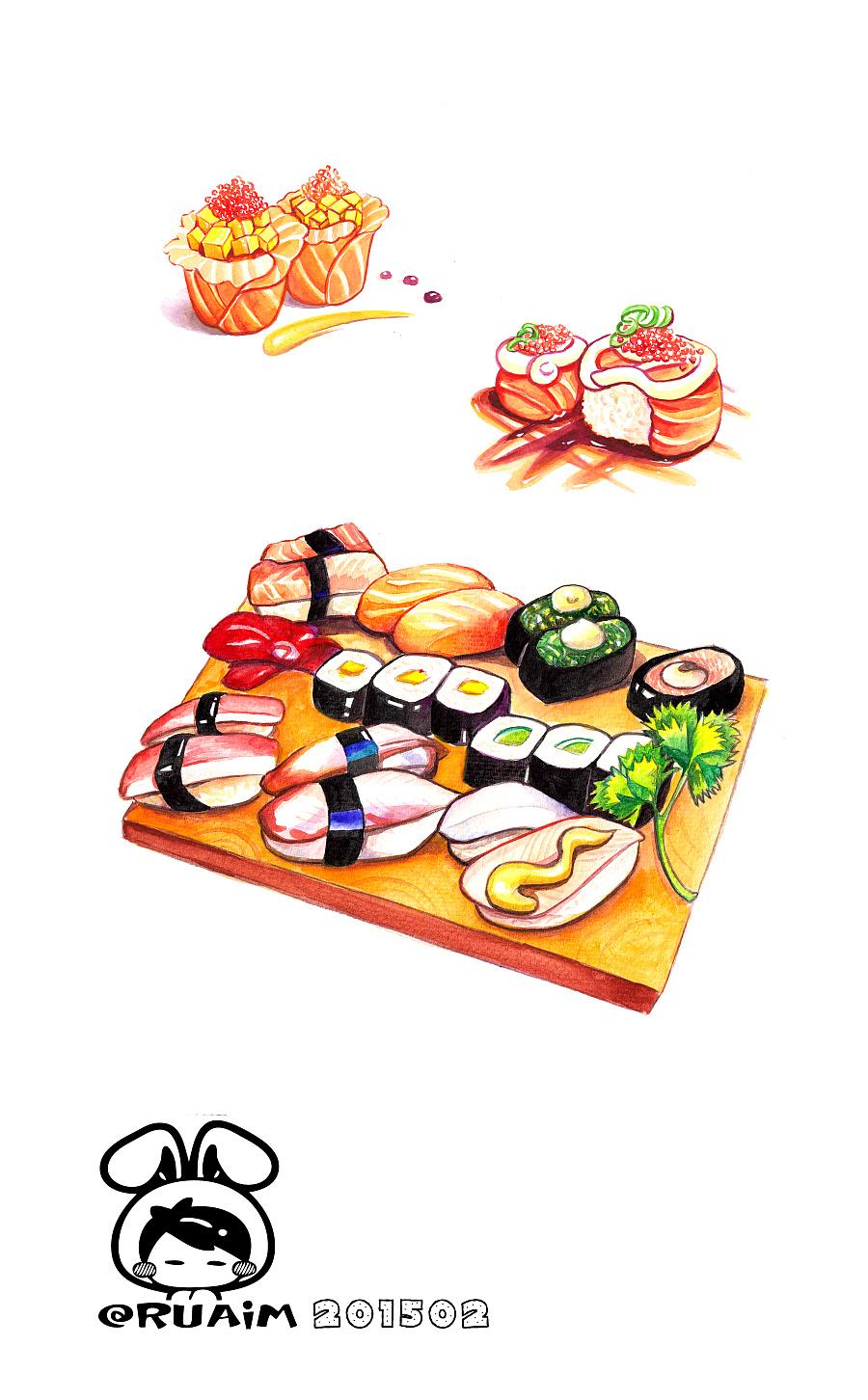 手绘美食手帐(芝士卷,寿司
