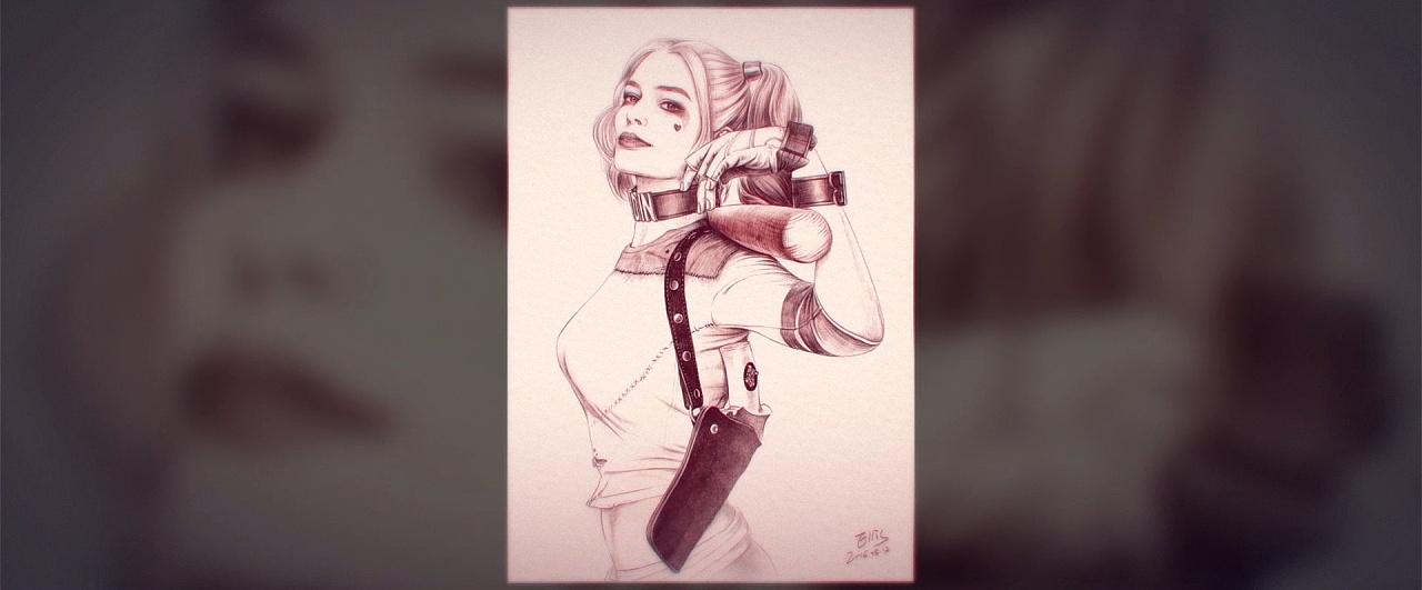 ps手绘《自杀小队》小丑女:哈莉·奎茵