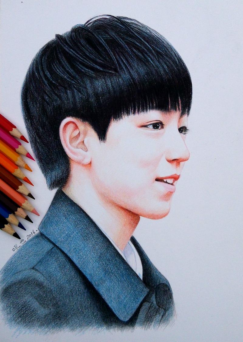 BOYS 王源王俊凯易烊千玺 彩色铅笔画 吼也手绘