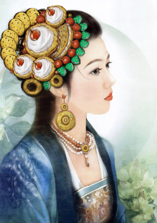 手绘创意古装美女食品头饰