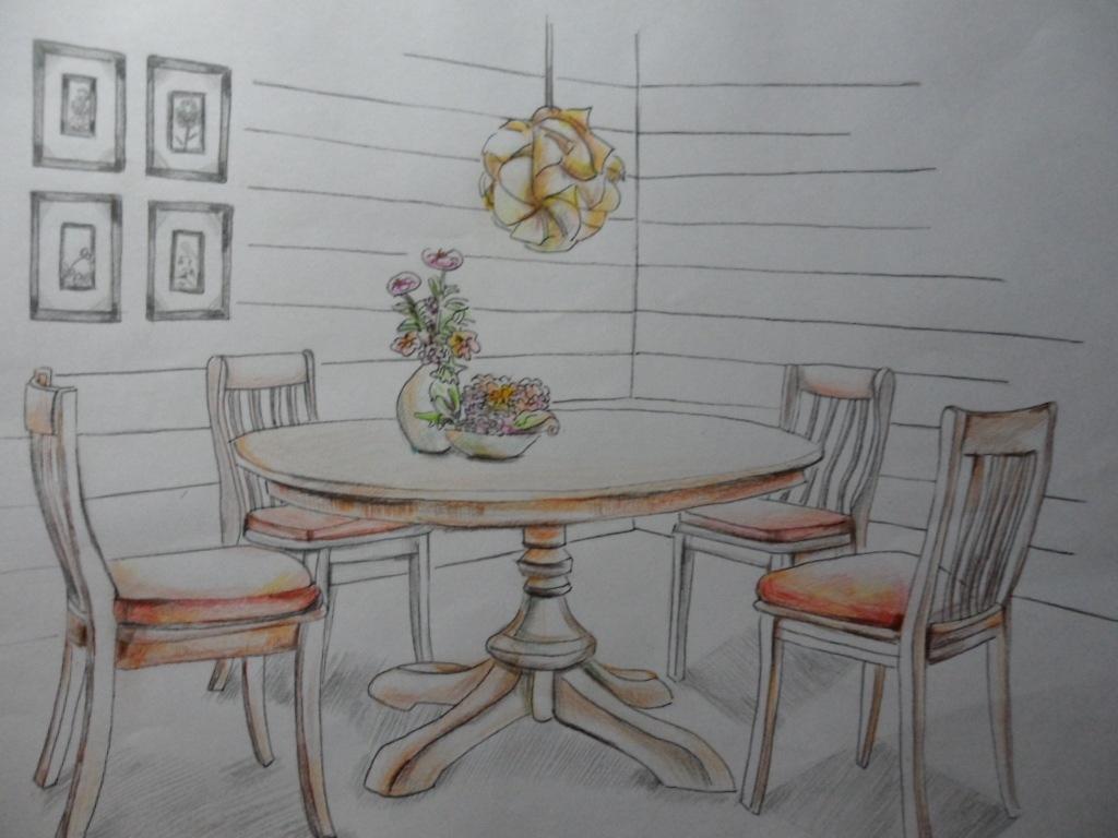 餐桌手绘马克笔手绘图