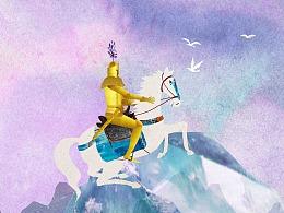 《玻璃山上的公主》下篇 北欧童话故事  拼贴