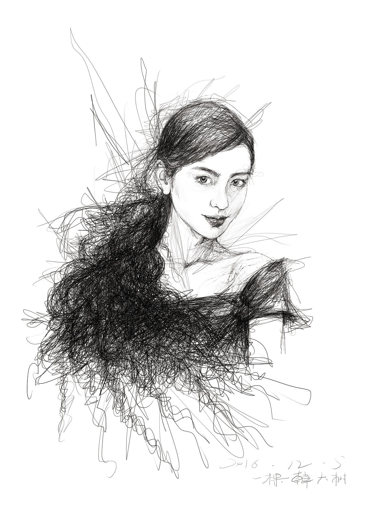 手绘练习 插画 其他插画 一棵韩大树 - 原创作品