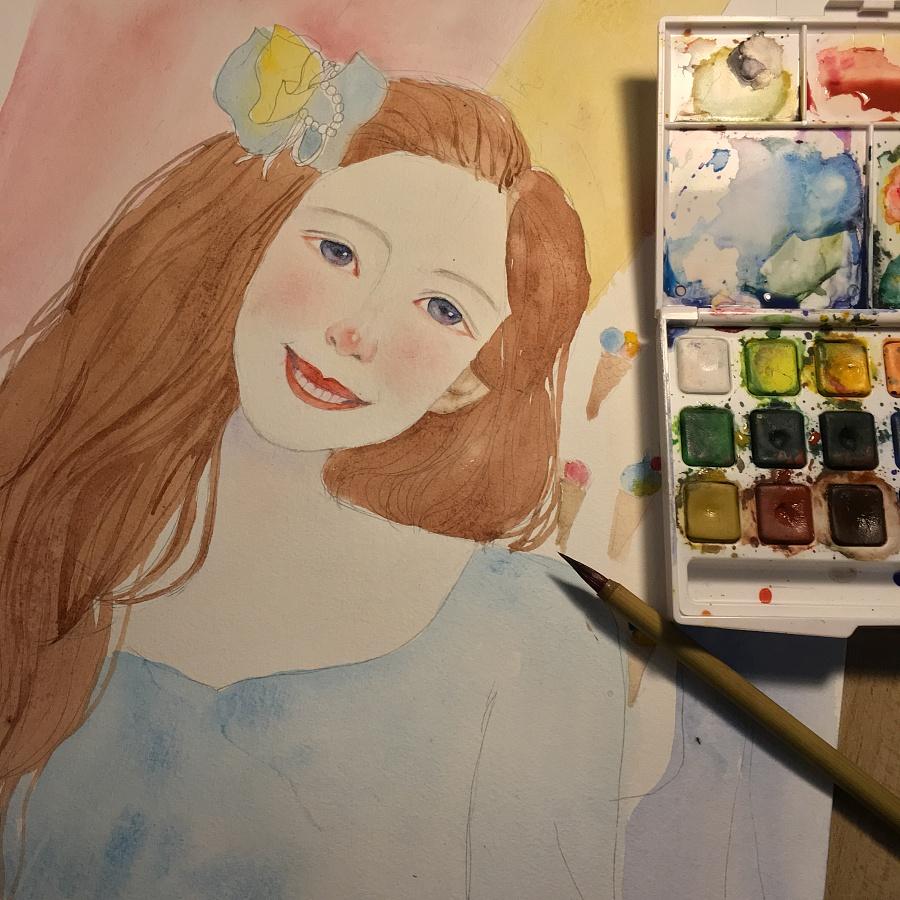 水彩手绘练习|临摹度薇年插画作品|绘画习作|插画|樱