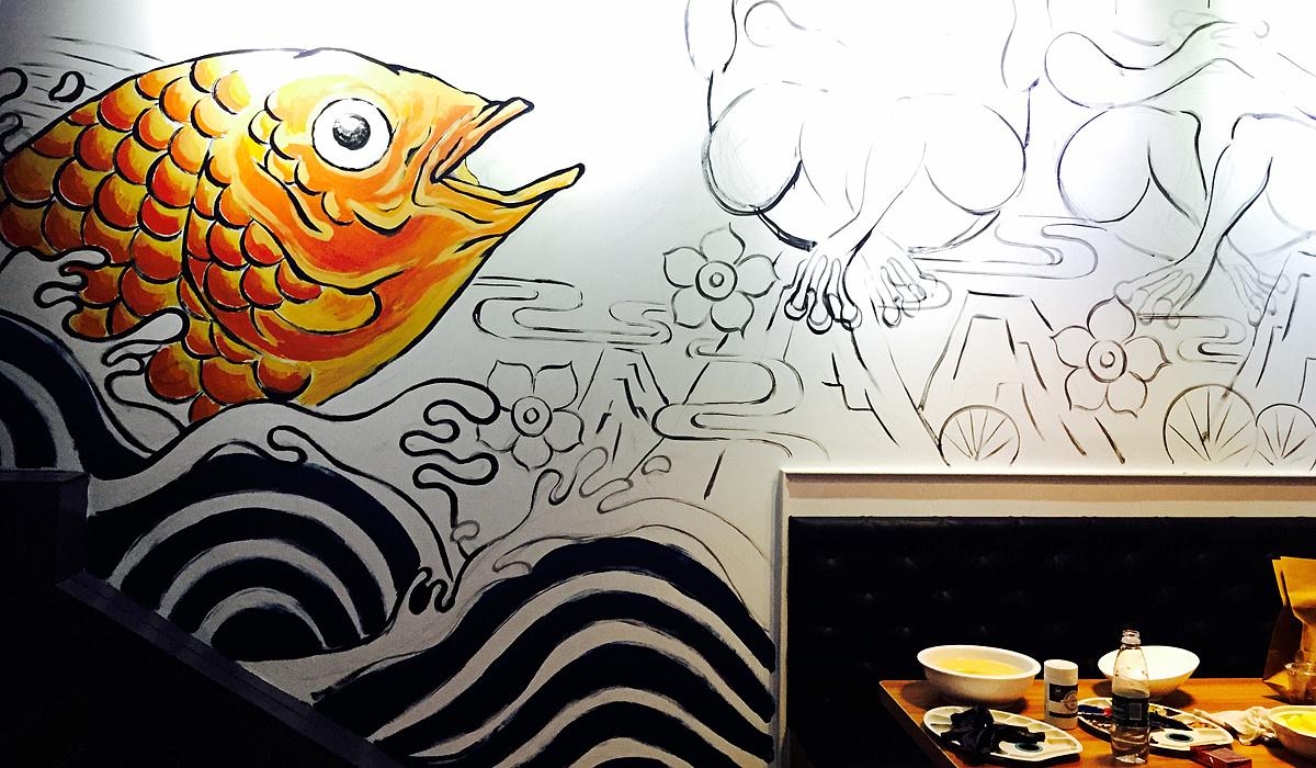 有蛙牛蛙烤鱼店墙绘涂鸦图片