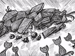 老舍《猫城记》插画