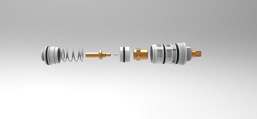 卫浴类产品渲染 龙头阀芯结构图 结构爆炸图 工业设计