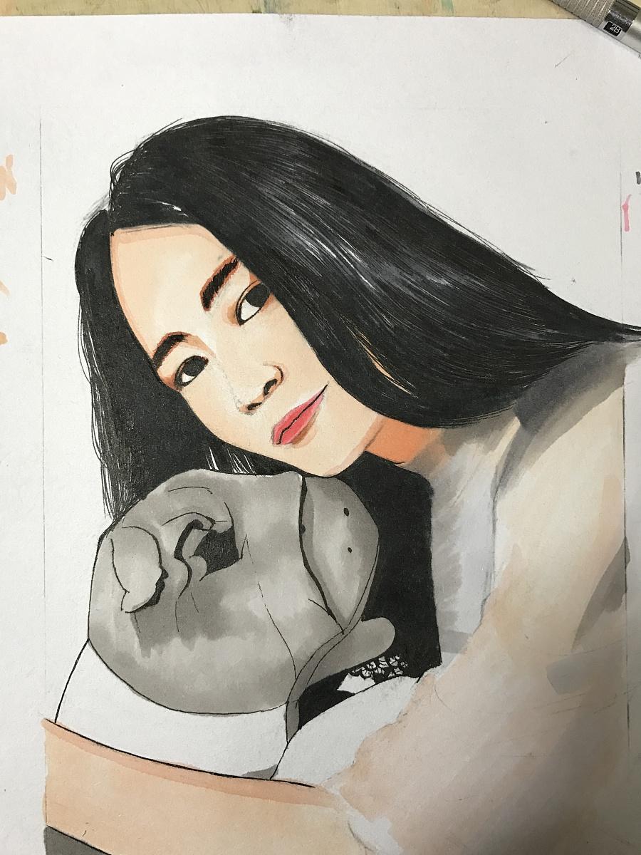 手绘马克笔|肖像漫画|动漫|秋山丶 - 原创设计作品