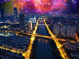 红星大桥夜景 航拍