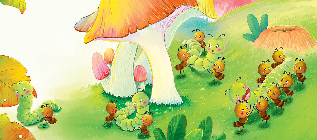 蚂蚁搬虫虫|插画|儿童插画|yoyooo-原创作品-生吃糊胡椒粉图片