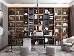 现代风格超简洁书房