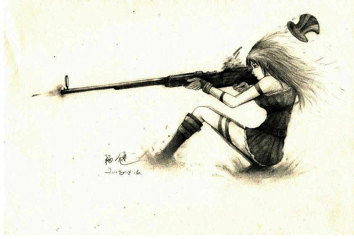 手绘游戏人物-女警