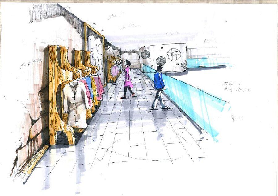 原素服装店设计 手绘|展示/橱窗/店面设计|空间/建筑