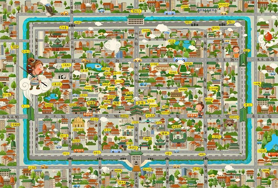 西安手绘地图(部分过程图)