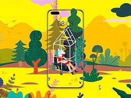 华为创意壁纸——丛林小屋