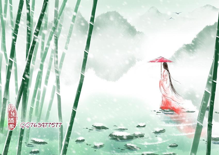 古风意境插画——山雪待归人图片