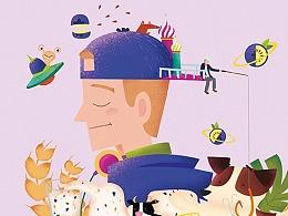 燕麦为题材的插画