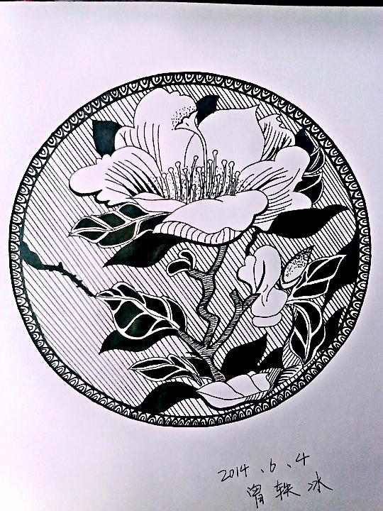 瓷器手绘图黑白