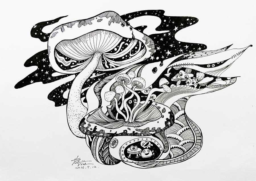 创意线描:蘑菇精灵