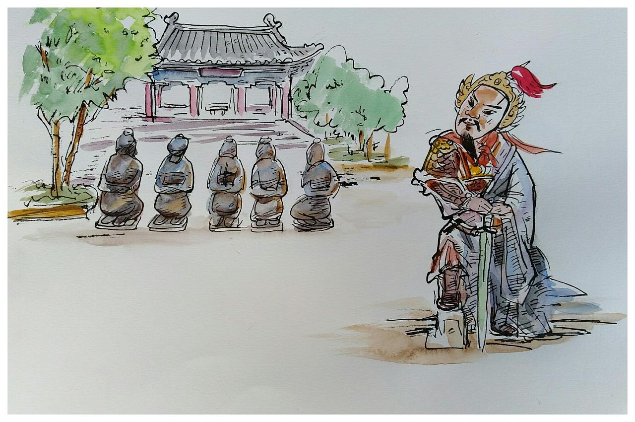 《开封历史人物手绘明信片设计稿》