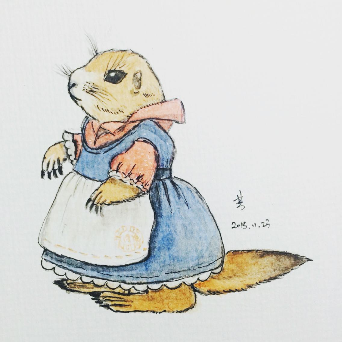 手绘 土拨鼠 |插画|儿童插画|小鼠松 - 原创作品
