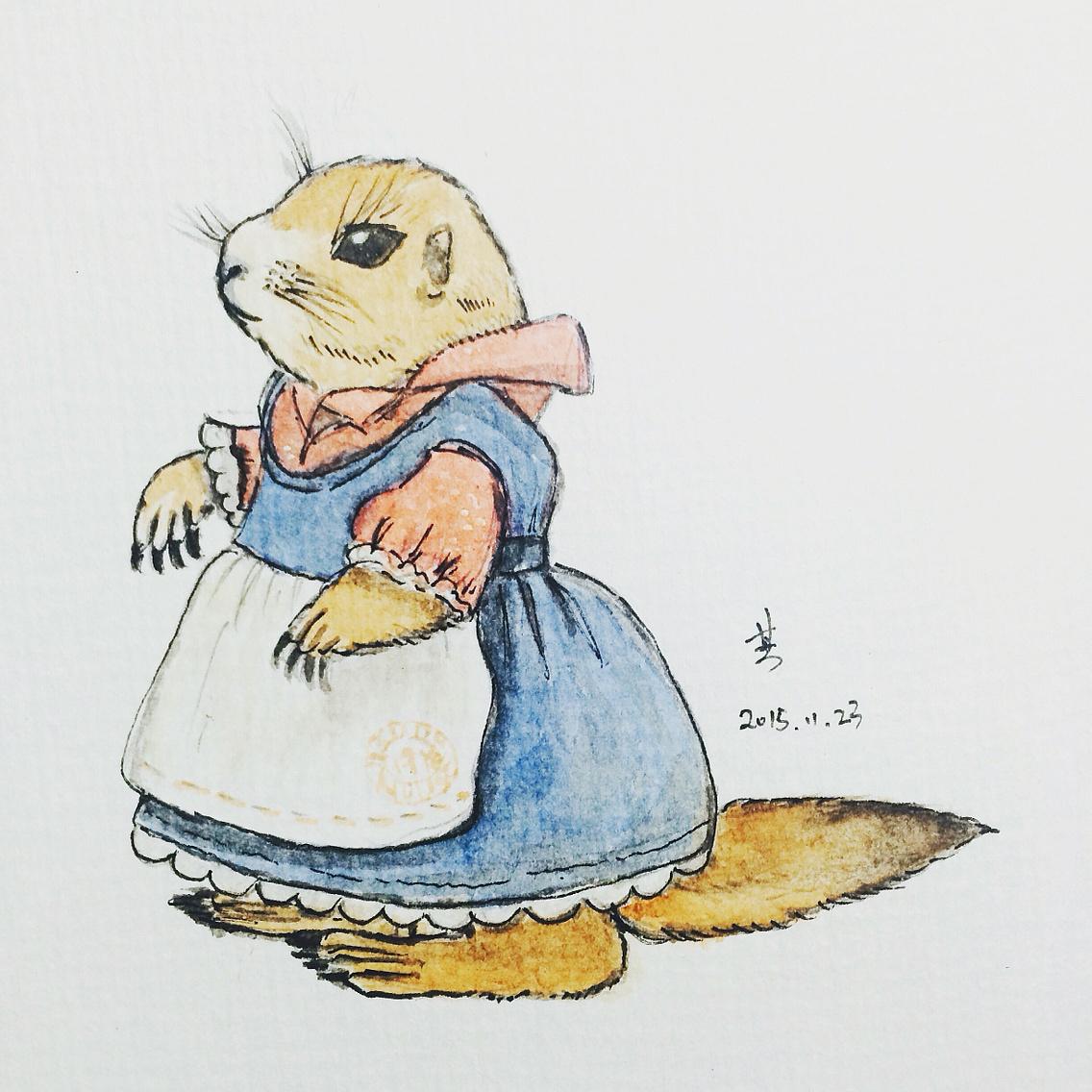手绘 土拨鼠  插画 儿童插画 小鼠松 - 原创作品