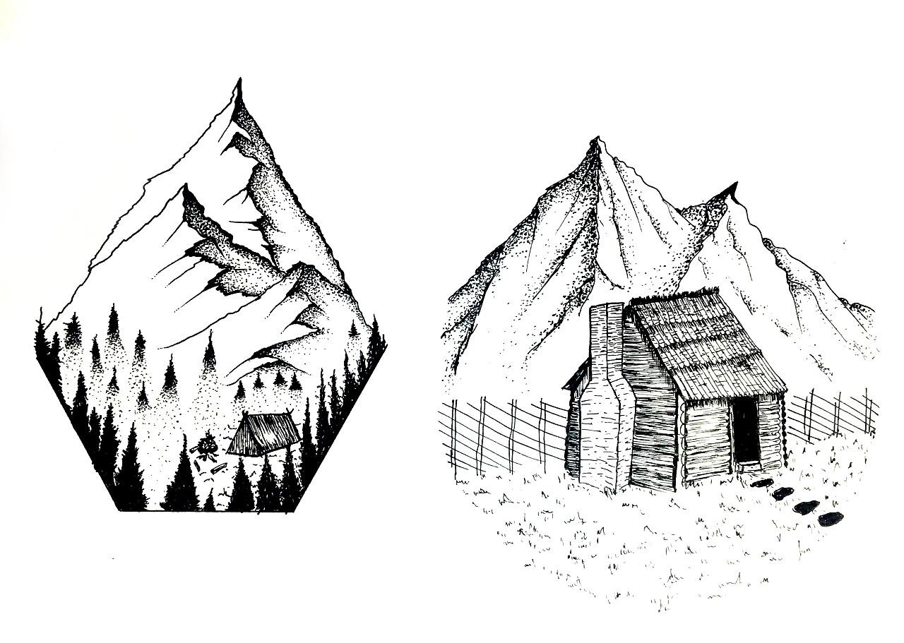 手绘临摹--一组黑白小风景