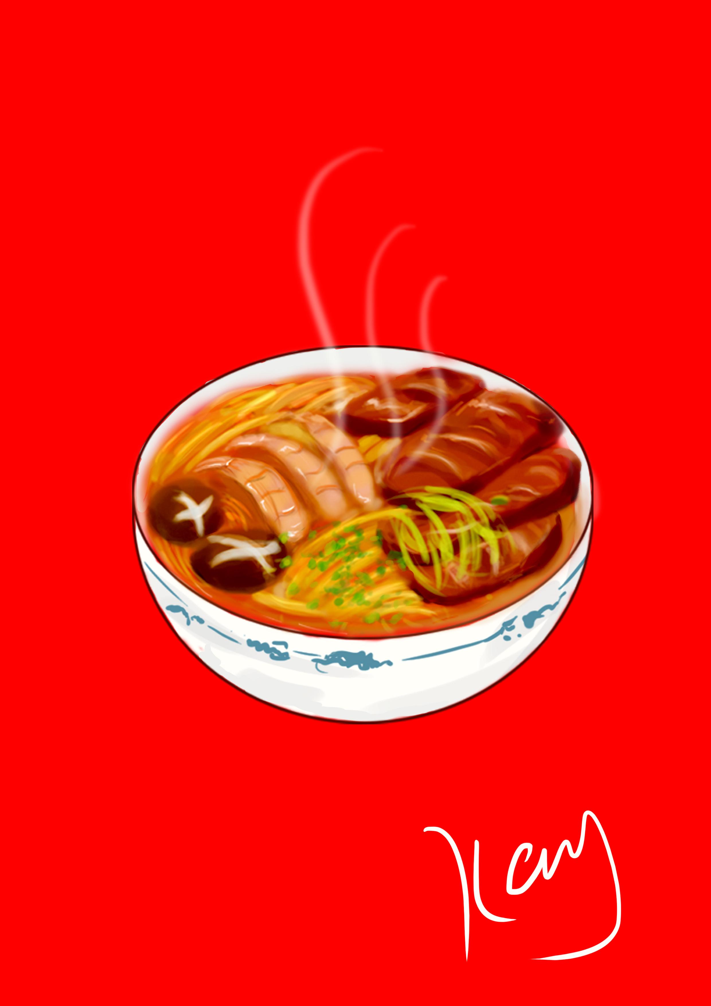 面 手绘 肉肉 食物 商业插画