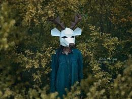 纸质面具鹿头人像一组