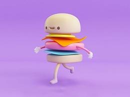 C4D动画骨骼绑定教程:会跑步的汉堡01