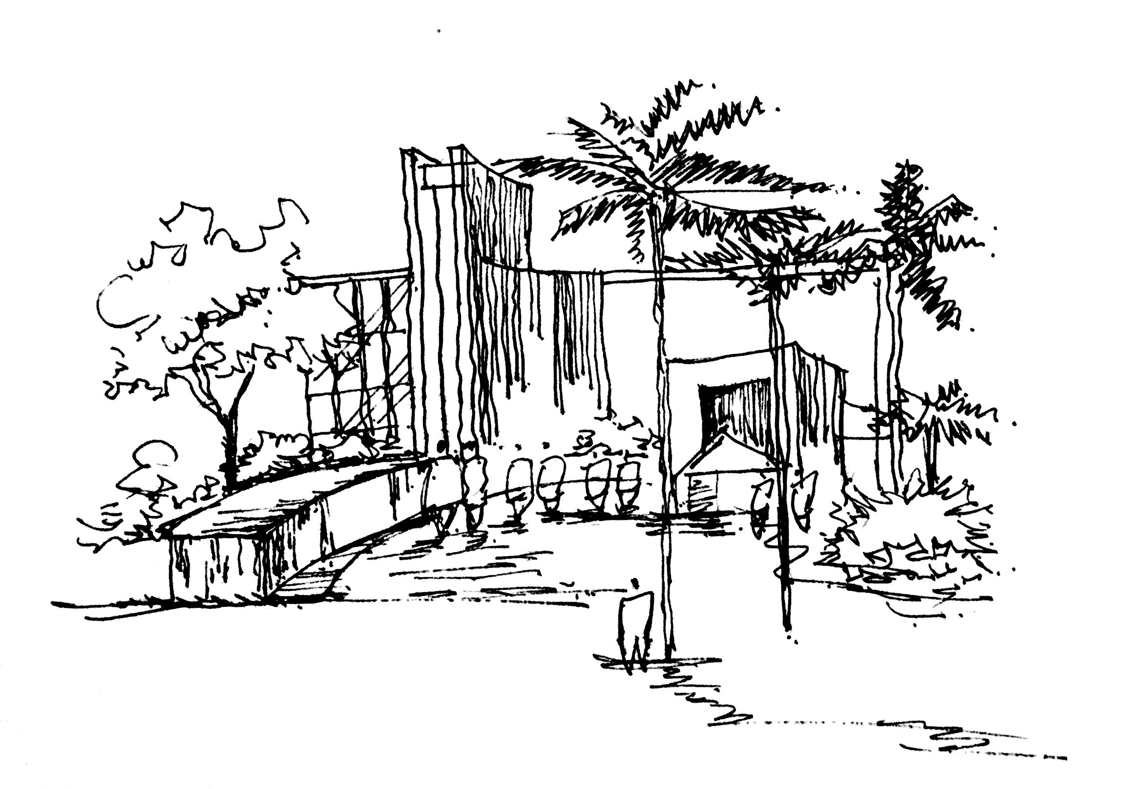 景观建筑效果图线稿