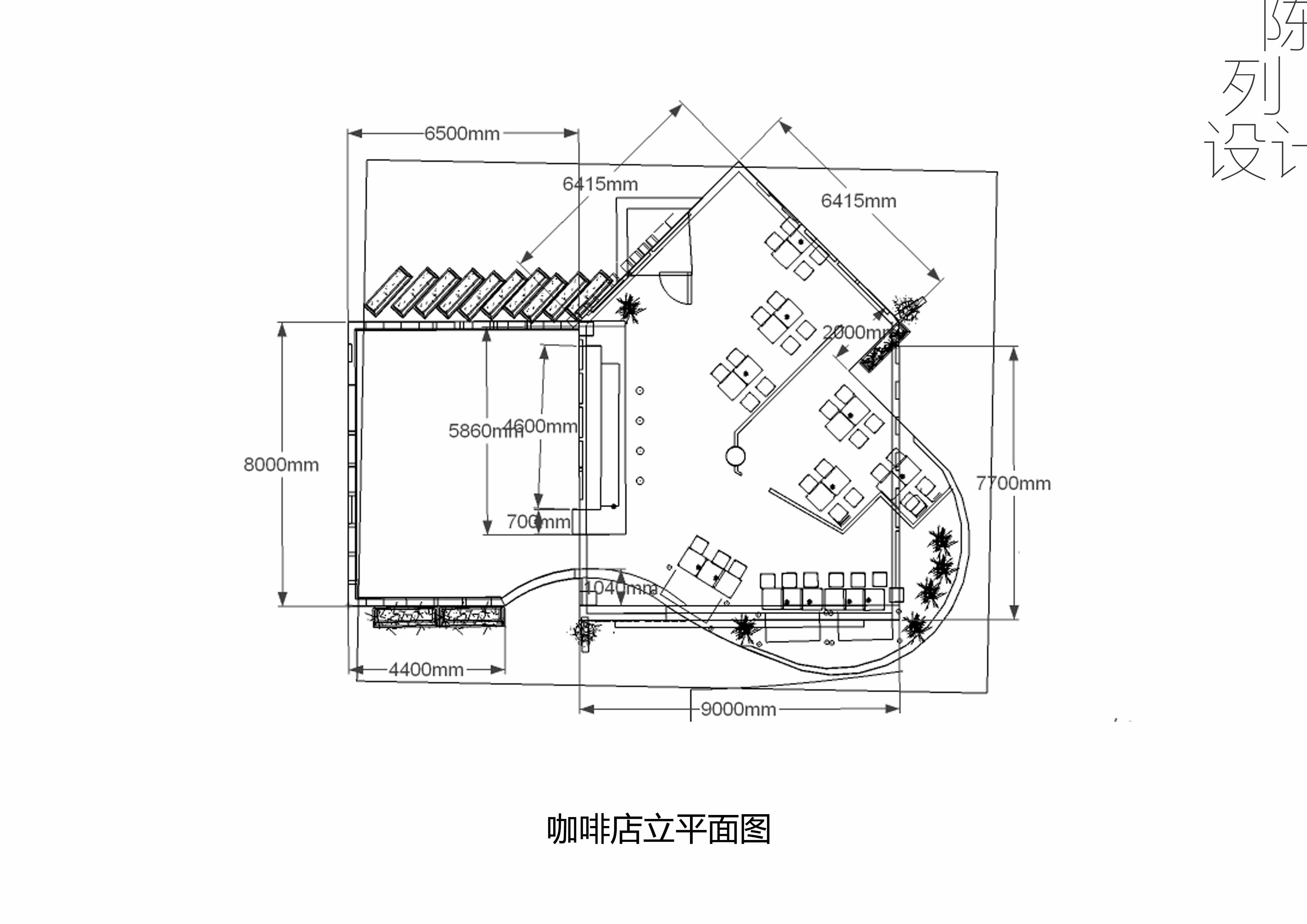大学作业 陈列设计 咖啡店 su cad图