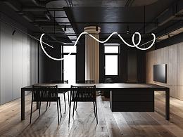 易梵/室内住宅/练习场景-黑色公寓