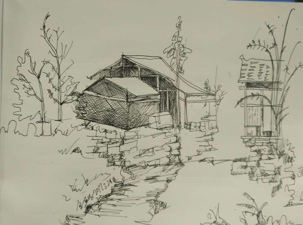 简单彩色铅笔画风景 彩铅笔树风景画 彩色铅笔画