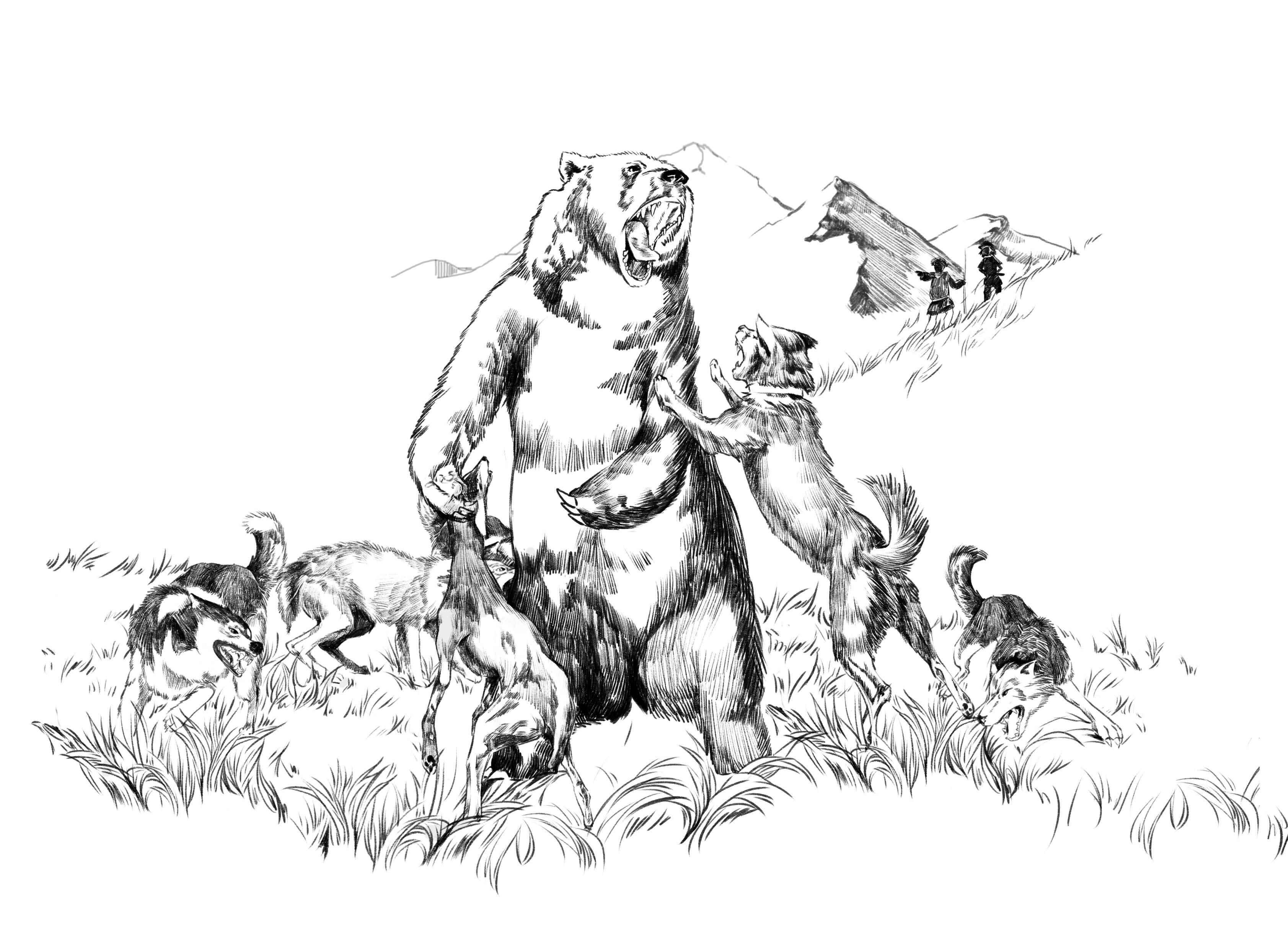 手绘风格动物插画
