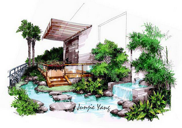 手绘小景|空间|景观设计|杨俊杰 - 临摹作品 - 站酷