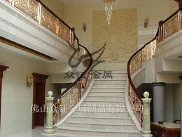 旋转楼梯造型铝板雕花护栏镀金工艺厂家定制发货