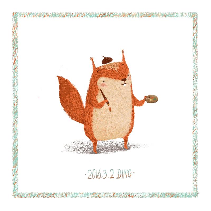 插画每日一图ps电脑手绘小动物5|儿童插画|插画|丁小