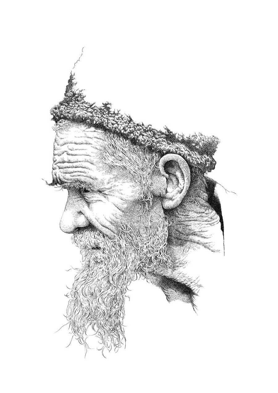 国外老人头像手绘