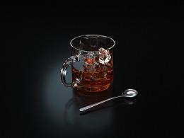 冰块玻璃杯建模渲染