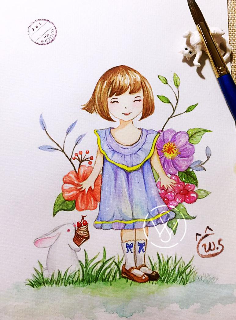 水彩女孩 插画 概念设定 白雪种鱼 - 原创作品 - 站酷