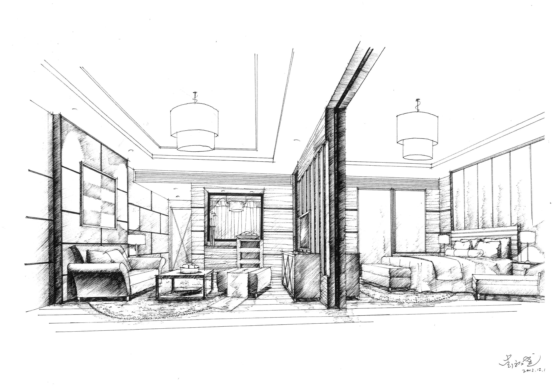 酒店房间手绘效果图线稿