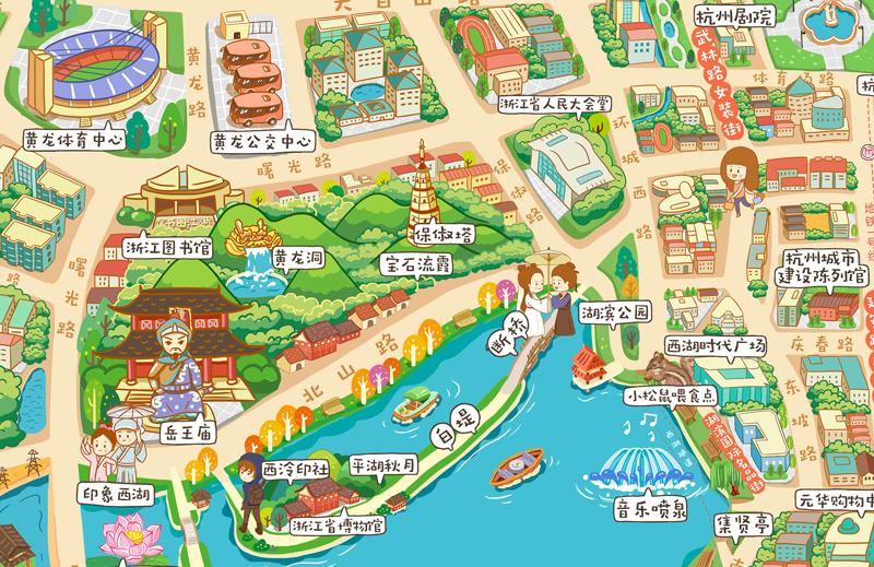 q版卡通杭州手绘旅游攻略地图|商业插画|插画|栗绛