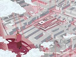 天行丨超好看的建筑室内插画风方案设计