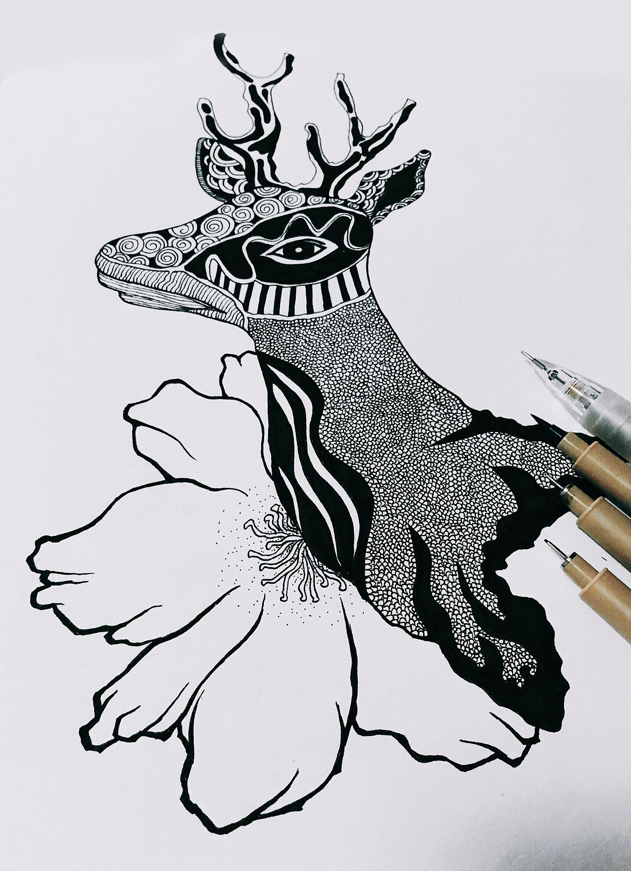 黑白手绘线条画_黑白画练习|平面|图案|Iris1 - 临摹作品 - 站酷 (ZCOOL)